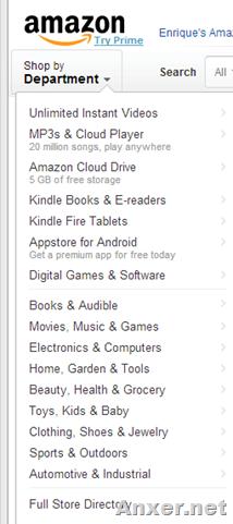 Menu de compras de Amazon
